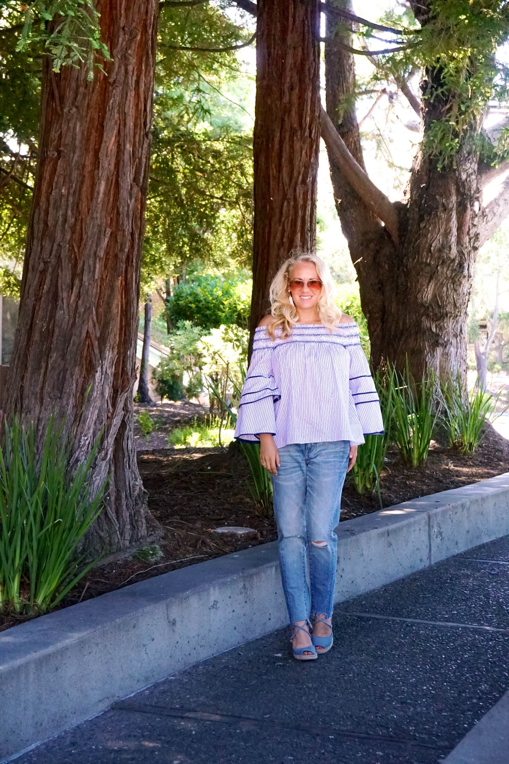 Striped Off-The-Shoulder Poplin Blouse-Parker New York-Summer Style-Outfit Inspiration-Have Need Want-Skinny Boyfriend Jeans-Espadrille Wedges