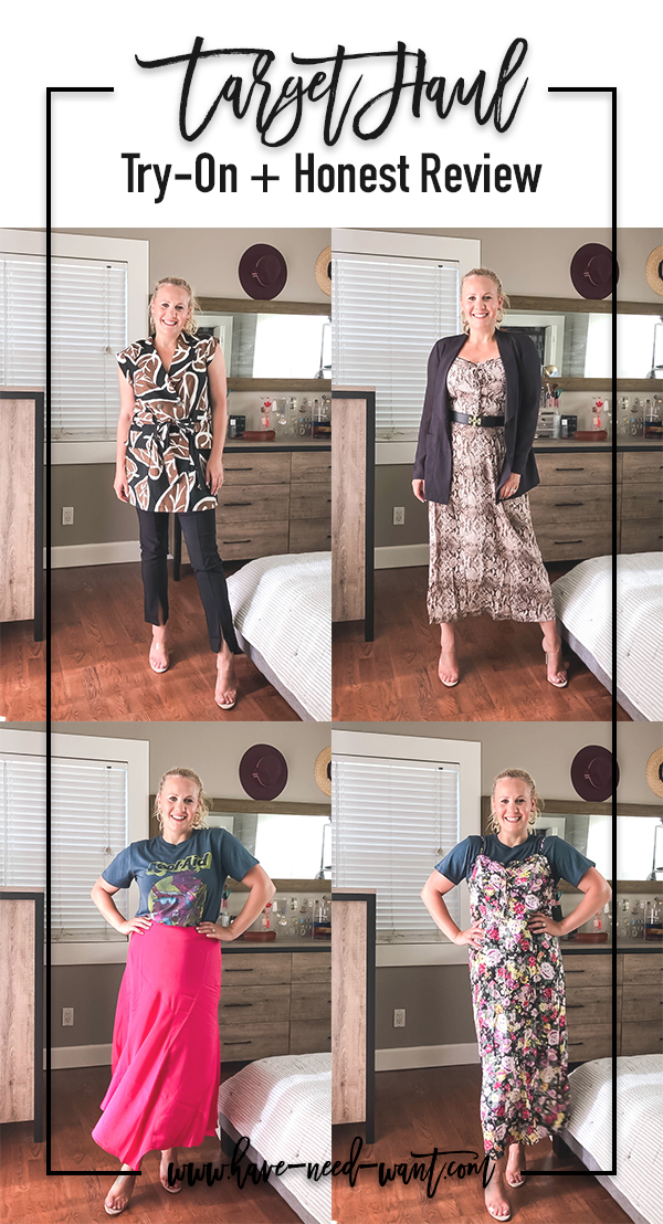 Sharing a recent Target haul try-on on Have Need Want. Head over to the blog to see everything I tried on including my honest opinion on each piece and find out what I kept and what I returned. #target #targethaul #tryonsession #outfitinspiration #shoppingguide