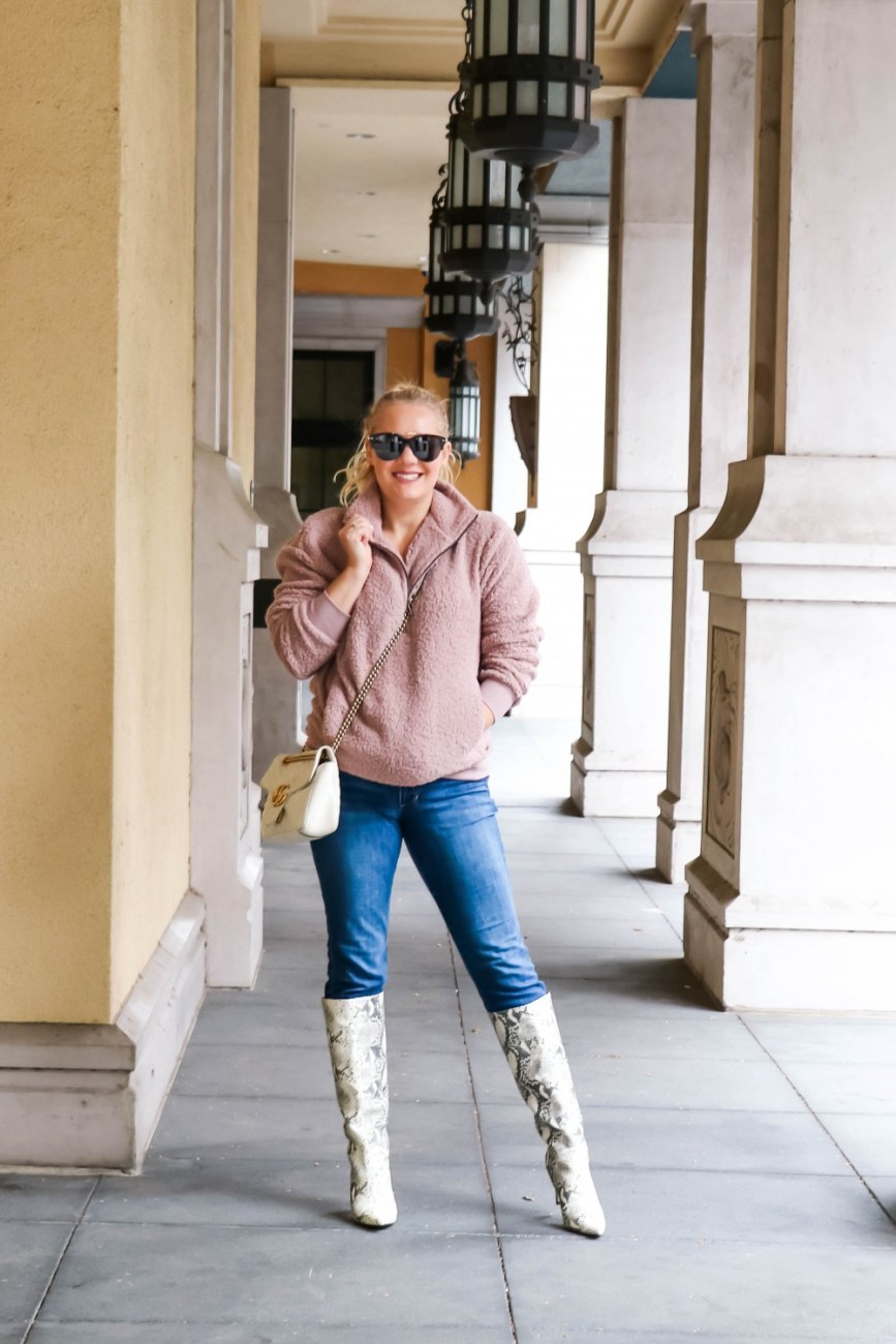 Threw on a warm teddy fleece pullover over a basic tee and jeans. These snakeskin print boots and my Gucci bag make this otherwise super casual outfit look so much more chic! #outfitinspo #momstyle #guccibag #stevemaddenboots
