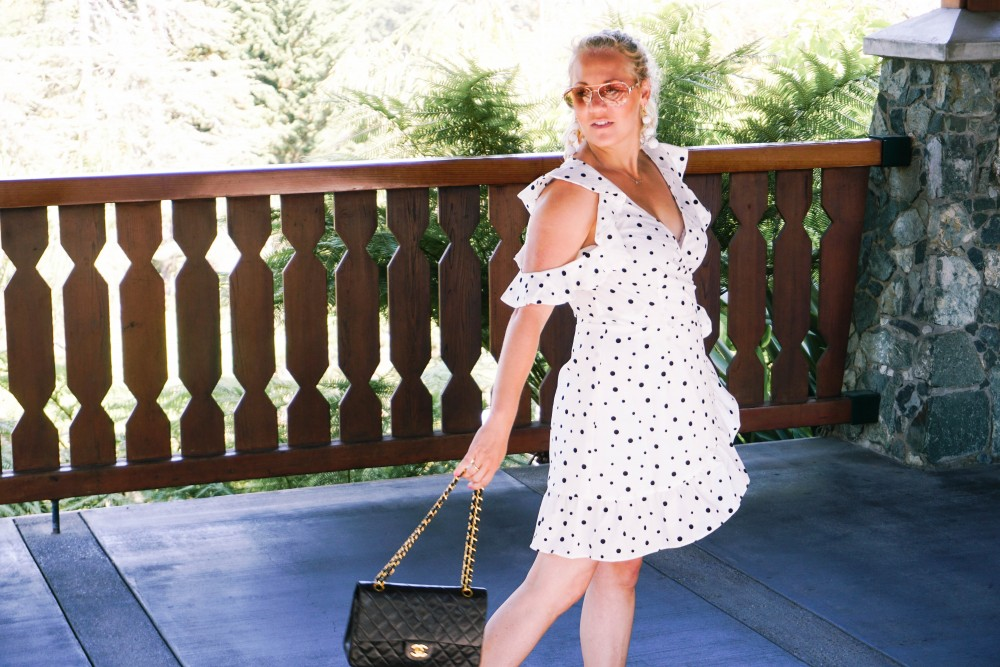 Three Ways to Wear Polka Dots-Polka Dot Outfits-Outfit Inspiration-Borrowed by Design-Polka Dot Wrap Dress-Faux Pearl Sandals-Have Need Want 12