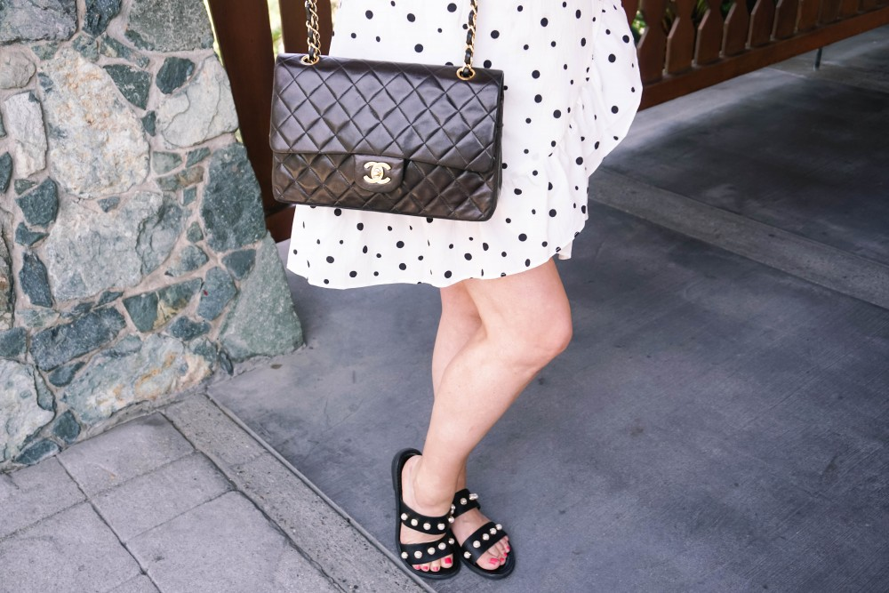 Three Ways to Wear Polka Dots-Polka Dot Outfits-Outfit Inspiration-Borrowed by Design-Polka Dot Wrap Dress-Faux Pearl Sandals-Have Need Want 6