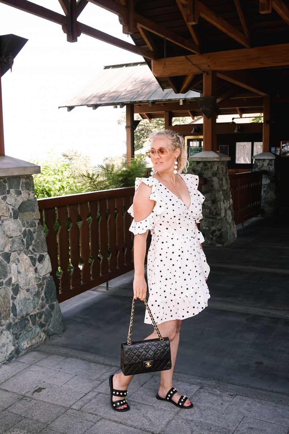 Three Ways to Wear Polka Dots-Polka Dot Outfits-Outfit Inspiration-Borrowed by Design-Polka Dot Wrap Dress-Faux Pearl Sandals-Have Need Want 7