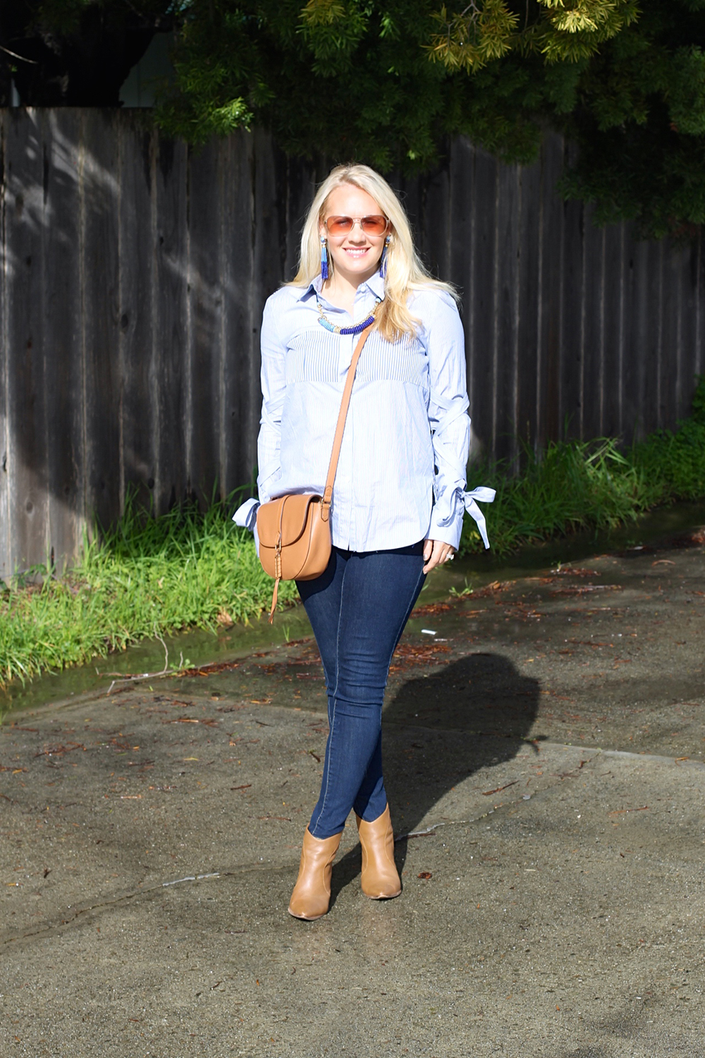 Tie Up Sleeve Blouse-Tibi Stripe Button Down-Outfit Inspiration-Have Need Want 2