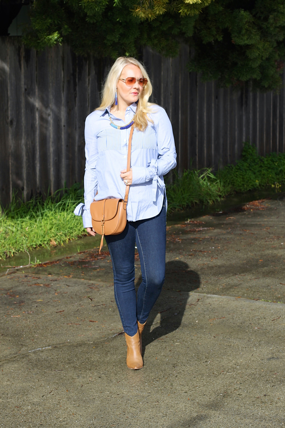 Tie Up Sleeve Blouse-Tibi Stripe Button Down-Outfit Inspiration-Have Need Want 5