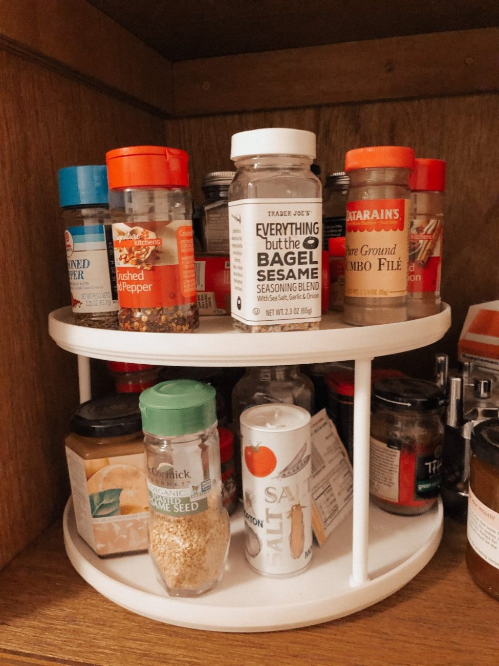 Pantry storage solution for herbs and spices and other seasonings. #pantrystorage #pantryorganization #storagesolutions #springcleaning