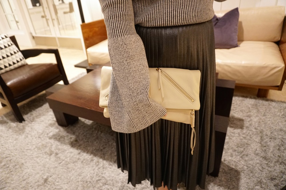 Trumpet Bell Sleeve Sweater-Ted Baker-Who What Wear for Target-Outfit Inspiration-Metallic Pleated Skirt-Steve Madden Suede Boots-Have Need Want 5