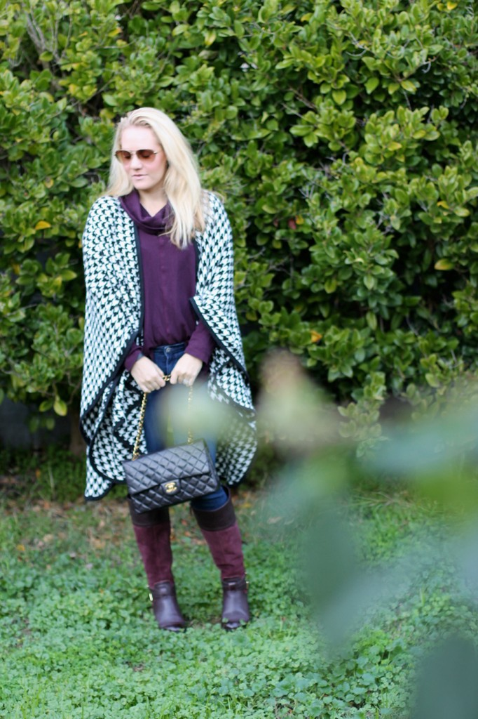 outfit inspiration-chanel handbag-kate spade-winter style-houndstooth ponch 6