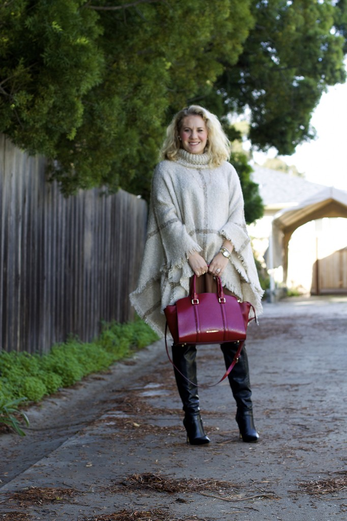 poncho, fashion blogger, bay area fashion blogger, outfit ideas, burberry handbag, over the knee boots