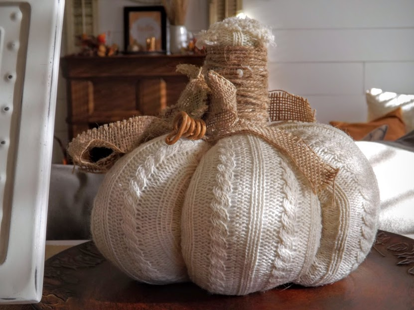 Burlap & White Sweater Pumpkin