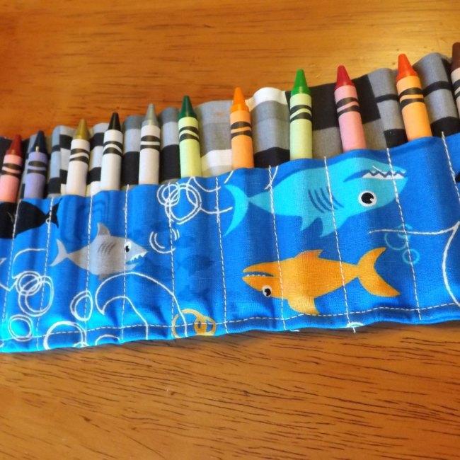 Blue Shark Crayon Roll Up