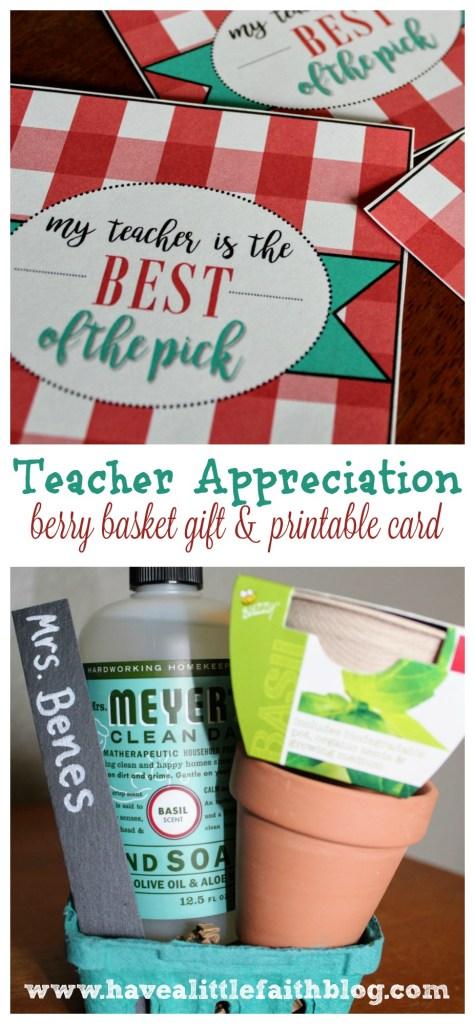 Teacher Appreciation Berry Basket Gift + Printable Card