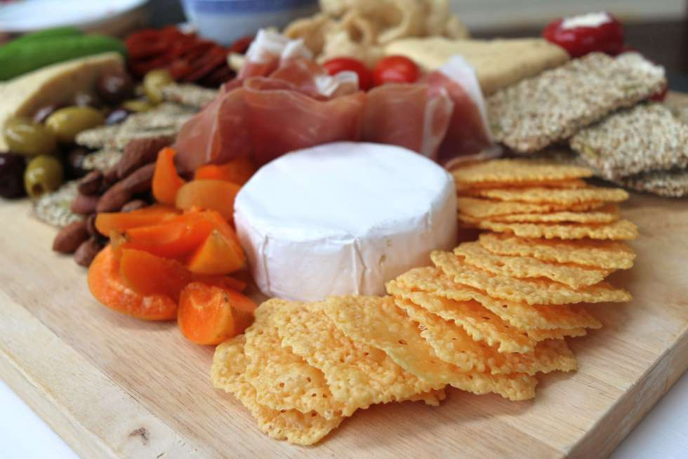Cheese crackers on a grazing platter