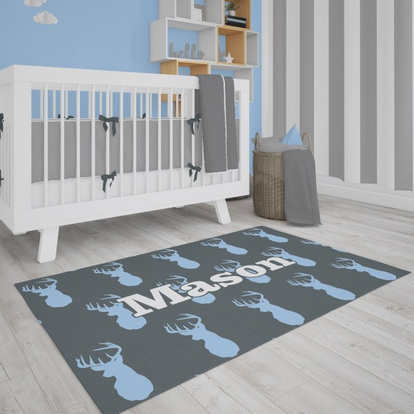 Deer Head Gray & Blue Area Rug
