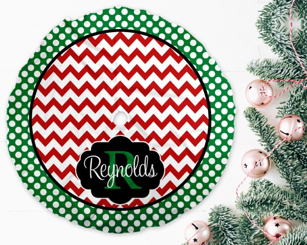 Chevron & Dots Red Green Trim Christmas Tree Skirt
