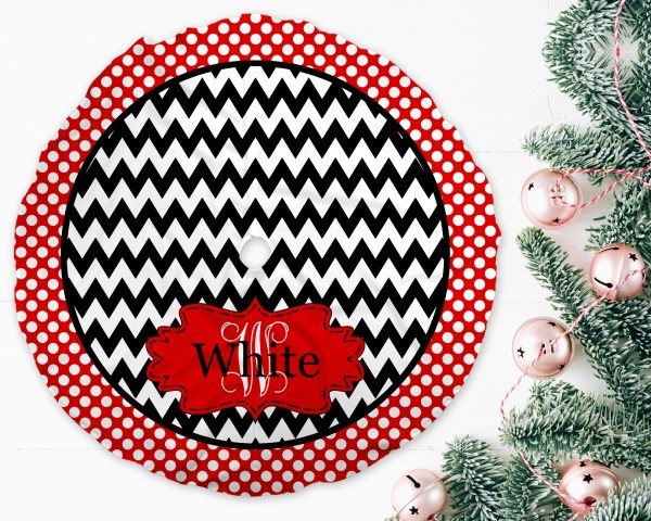 Chevron Dots Red & Black Christmas Tree Skirt