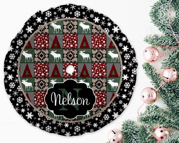 Rustic Moose Christmas Tree Skirt
