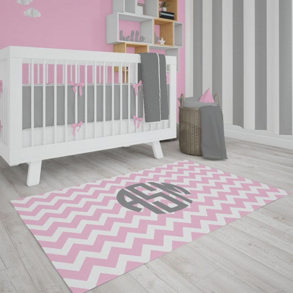 Chevron Pink & Gray Area Rug