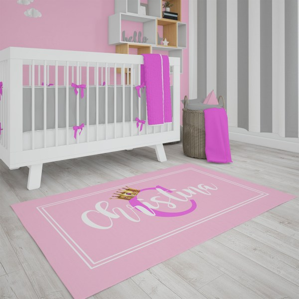 Gold Crown on Pink Area Rug