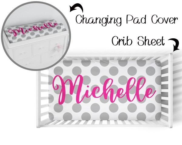 Polka Dots Pink on Gray Crib Sheet & Changing Pad Cover