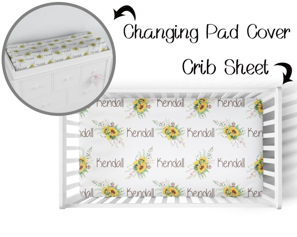 Sunflower with Names Crib Sheet & Changing Pad Cover