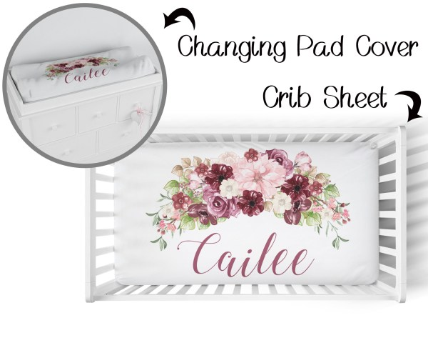 Burgundy Floral Crib Sheet & Changing Pad Cover