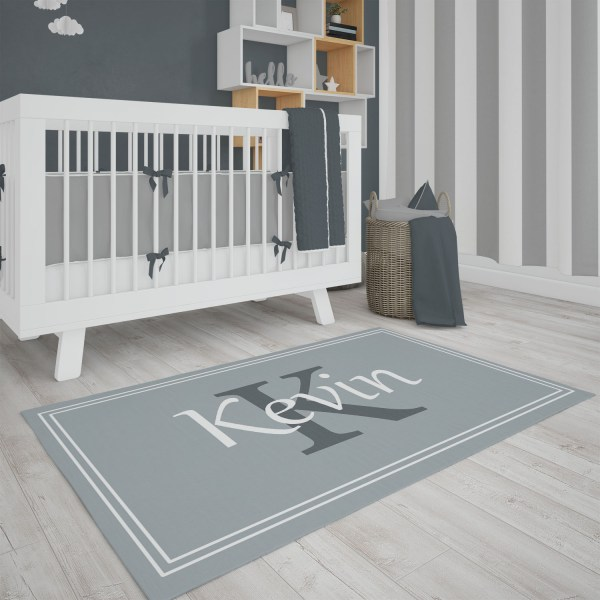 Gray Framed Area Rug