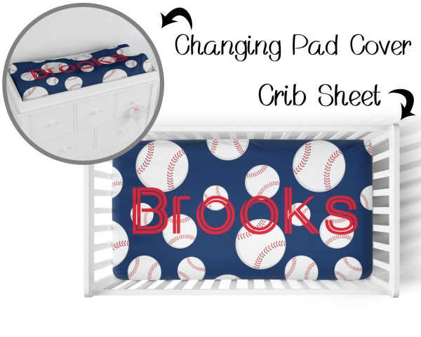 Baseball on Navy Crib Sheet & Changing Pad Cover
