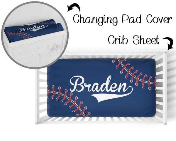 Baseball Stitching on Navy 2 Crib Sheet & Changing Pad Cover