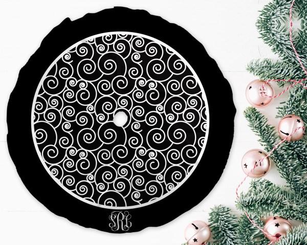 Swirls Black & White Christmas Tree Skirt
