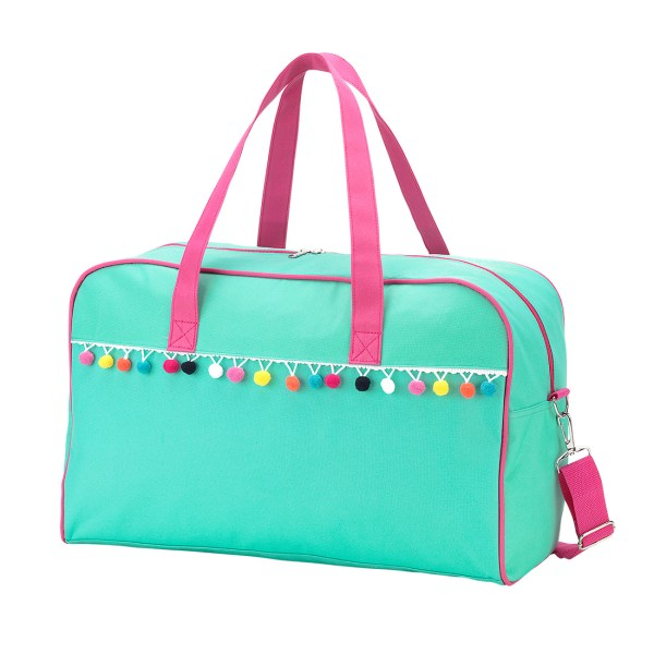 Emily Mint Pom Pom Travel Bag