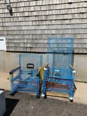 Chairs made from old lobster pots
