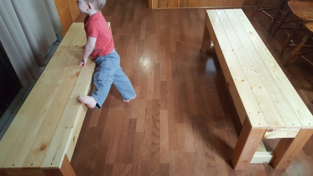 Bench seating for our large family dining table