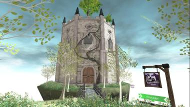 Fairy tale tower with 2 large circular rooms and a rooftop deck with plants.
