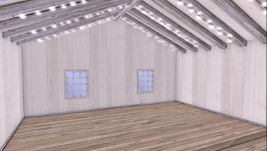 Small one room private skybox with lights.