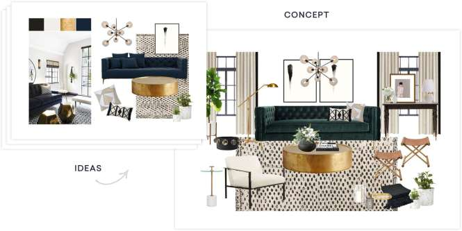 Transitional Living Room With High Ceiling Concrete Floors Metal Parquet Coffee Table Cement