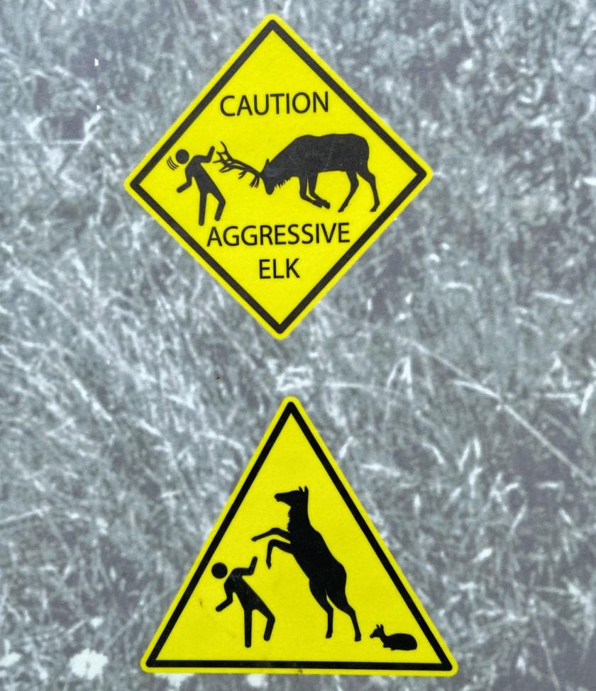 Aggressive elk signs