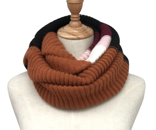 Tan colour black stripe knitted snood