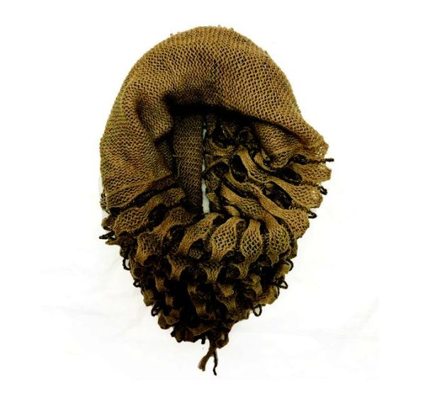 Netted (two-way) wrap around scarf to snood in light brown