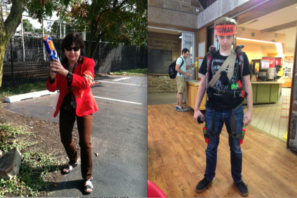 Dean Donna Mancini, on left, is still a human. Newly zombified student Kenneth Gudel '15, on right, is outfitted for combat.