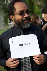 "History professor Ignacio Gallup-Díaz on his sign: ""I chose it for its hashtaggery…if I were white or black would the expectations of me or treatment of me be different?"""