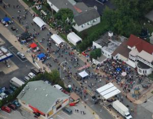 Aerial view of the Street Stage, Haverford Music Festival 2011