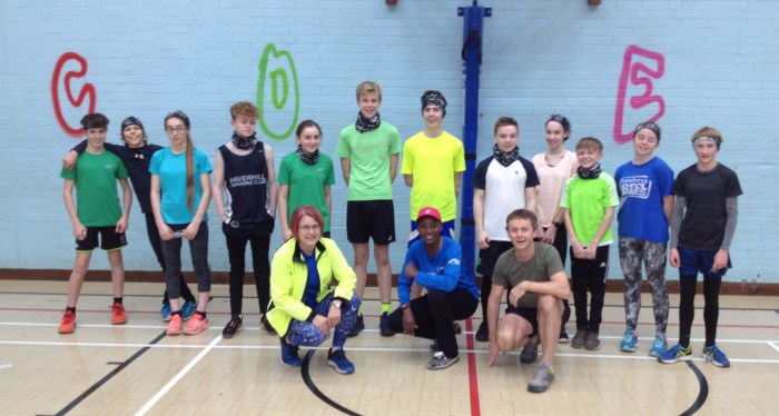 Young people in gym