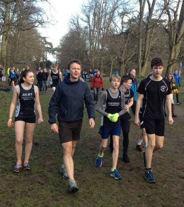 Brian doing a course recce with Juliet, Ben, George and Harry