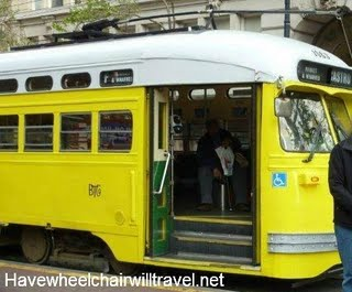 f line tram with writing