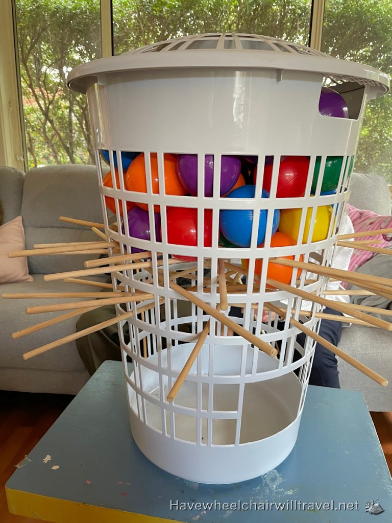 Homemade kerplunk game - Have Wheelchair Will Travel