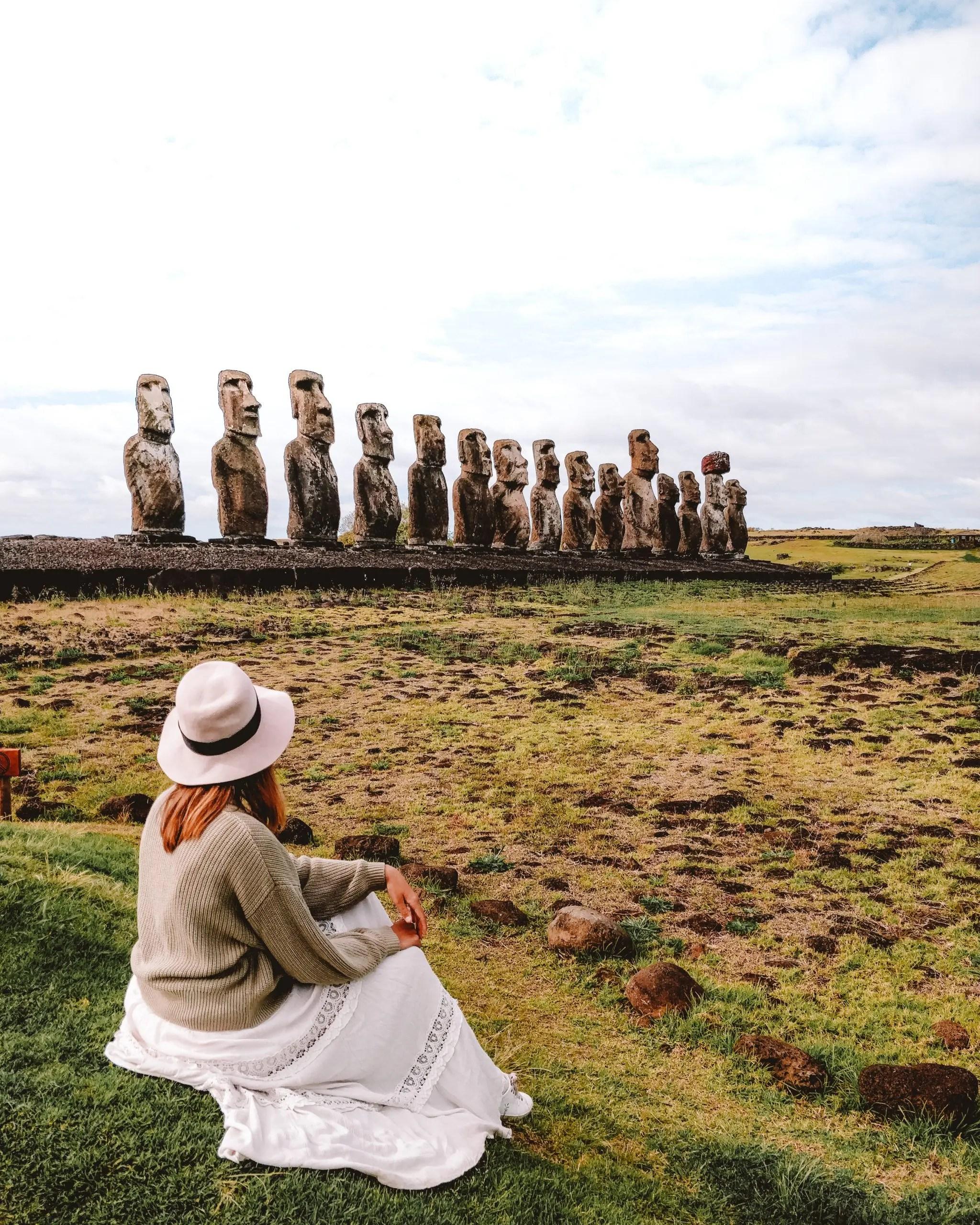 Ahu Tongariki, the largest platform of Moai statues on Easter Island.