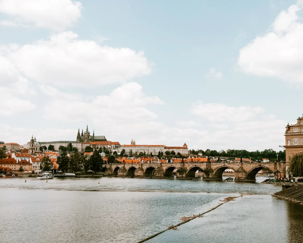 View across the river to Charles Bridge in Prague