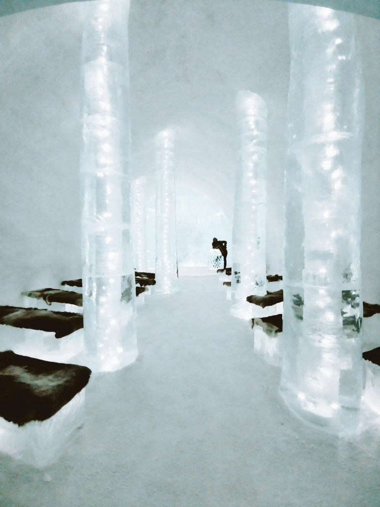 Inside the chapel at the 31st ice hotel in Sweden.