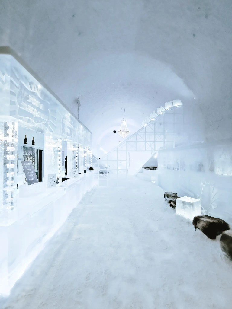 Inside the Ice bar at Ice hotel Sweden.