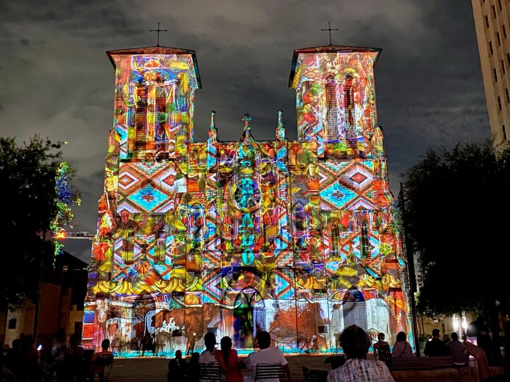 The Saga light show at San Fernando Cathedral in San Antonio. Texas